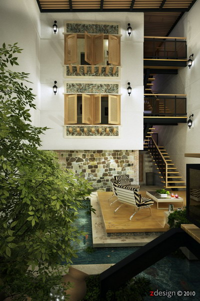Central-Courtyard-design-with-beautiful-shutters-582x872