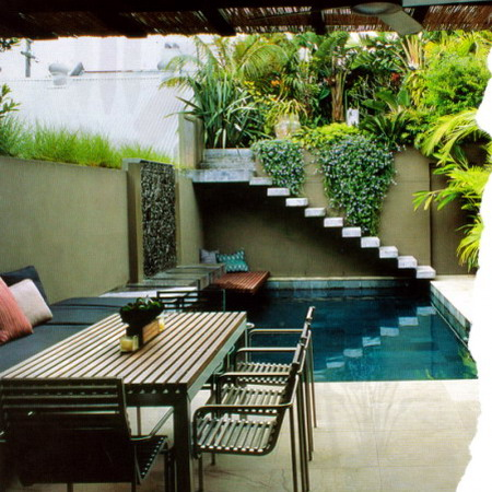 Urban-courtyard-design-with-waterfall-
