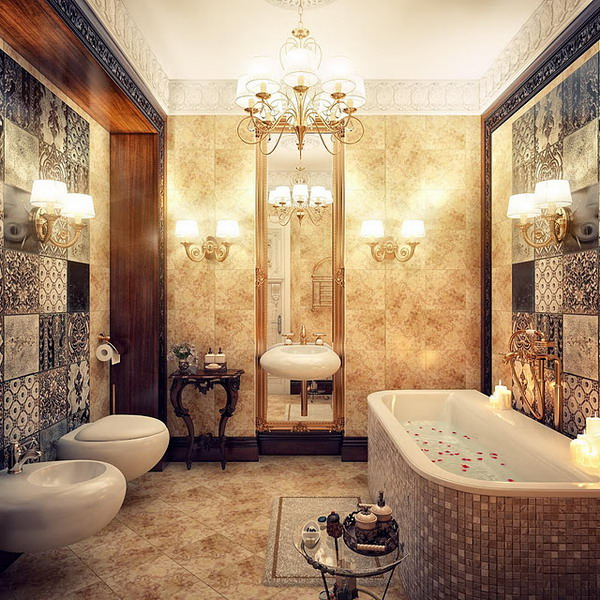 kientrucnhangoi-vintage-01-Chandeliers-in-a-Luxurious-Bathroom
