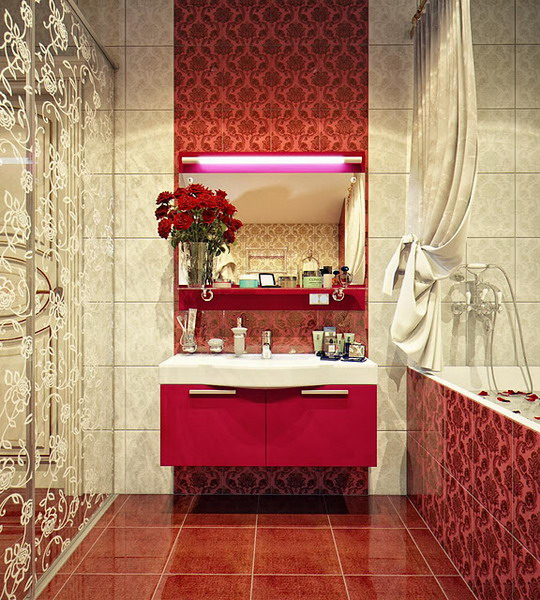 kientrucnhangoi-vintage-01-Modern-Sink-on-a-Vintage-Patterned-Wall