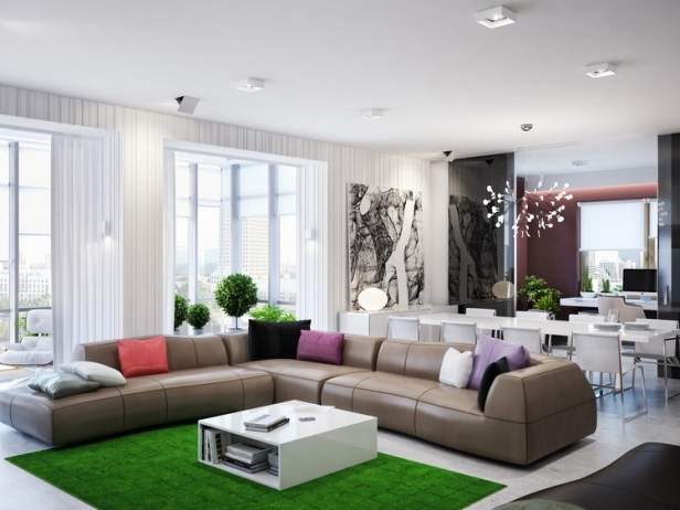 green-brown-living-room-L-shaped-sofa