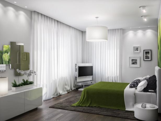 Green-white-bedroom-scheme