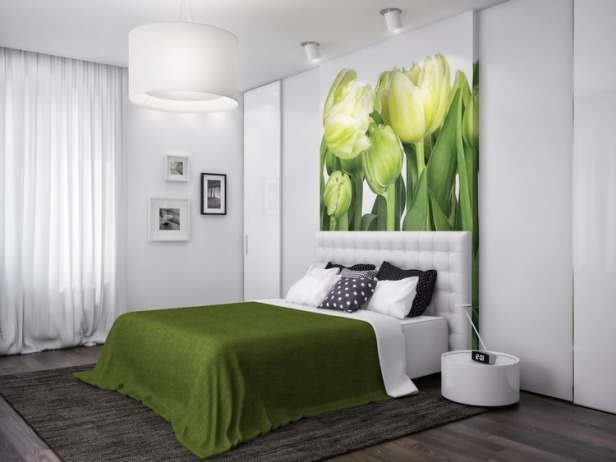 Green-white-nature-bedroom